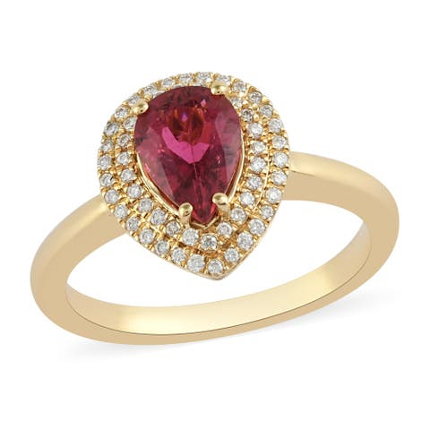 Yellow Gold Rubellite White Diamond Halo Engagement Ring Ct 1.1