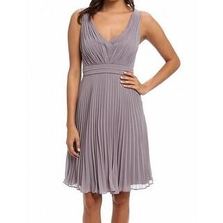Donna Morgan NEW Gray Women's Size 2 Short Pleated Chiffon Dress