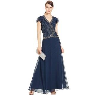 J Kara Flutter Sleeve Embellished Side Tie Evening Gown Dress - 10