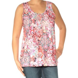 Womens Orange Pink Floral Sleeveless Scoop Neck Casual Top Size L
