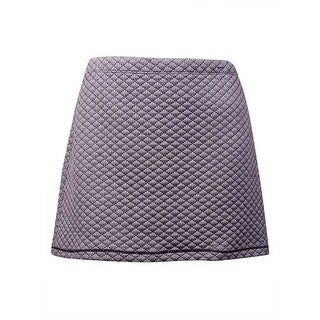 Studio M Women's 'Josette' Quilted Houndstooth Mini Skirt (XL, Black/White)