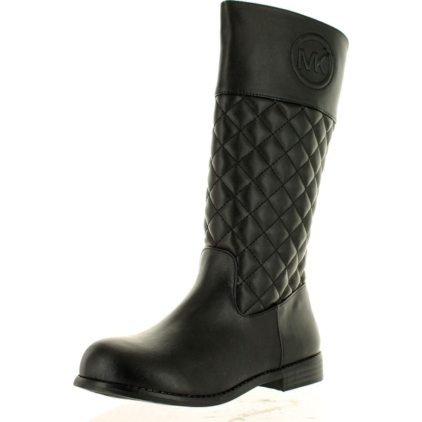 Michael Kors Girls Emma Vera Tall Quilted Designer Riding Boots - Black