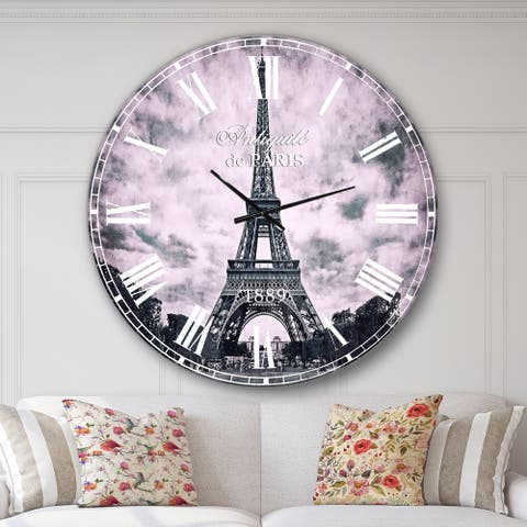 Designart 'Paris Eiffel TowerUnder Dramatic Sky' Skyline Wall CLock