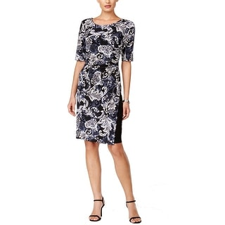 Connected Apparel NEW Black Women's Size 10 Sheath Scroll Print Dress