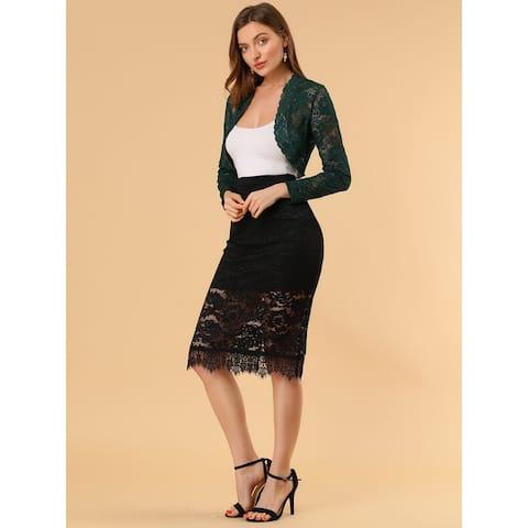 Women Lace Shrug Bolero Long Sleeve Open Front Cardigan