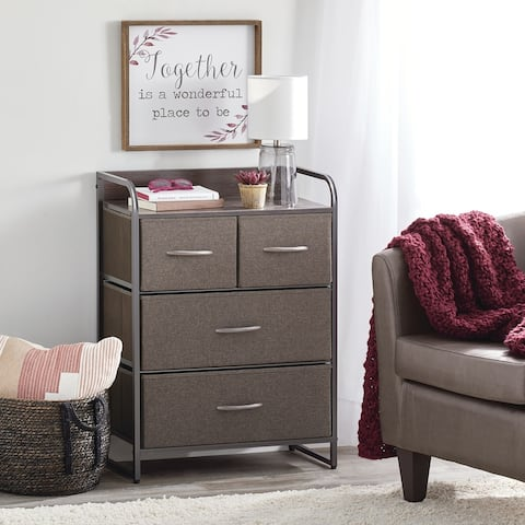 mDesign Wide Dresser Storage Chest, 4 Fabric Drawers