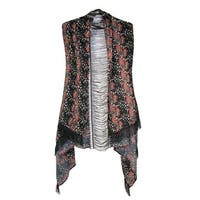 David & Young Women's Daisy Floral Wrap with Lace Inset and Fringe - One size