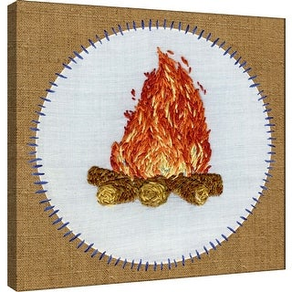 """PTM Images 9-100504  PTM Canvas Collection 12"""" x 12"""" - """"Vintage Camping Embroidery D"""" Giclee Text and Symbols Art Print on"""