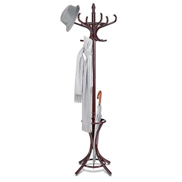 Gymax Wood Standing Hat Coat Rack Jacket Bag Hanger Tree 12 Hooks w/