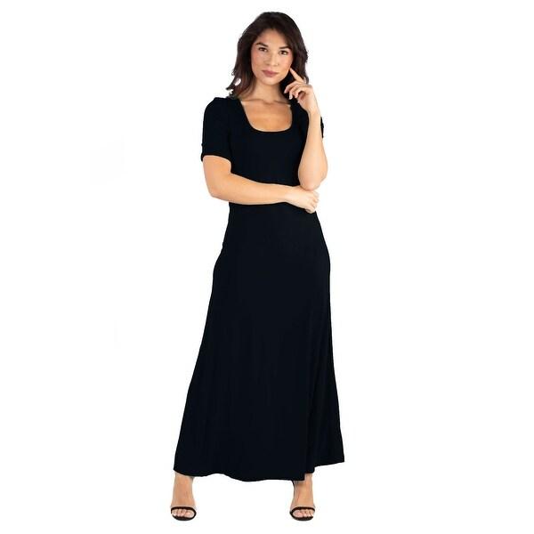 24seven Comfort Apparel Elbow Length Sleeve Maxi Dress. Opens flyout.