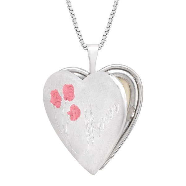 'Mom' Heart Locket Pendant with Roses in Sterling Silver - White