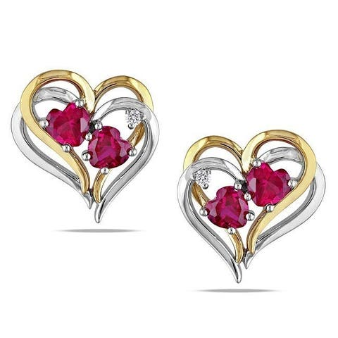 Miadora Yellow Sterling Silver Created Ruby Diamond Heart Earrings (H-I, I2-I3)