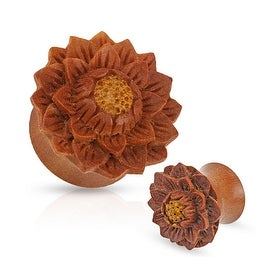 Lotus Flower Hand Carved Organic Jackfruit Tree Saddle Fit Plug (Sold Individually)