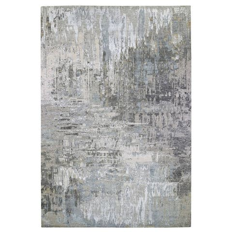 """Shahbanu Rugs Oversize Gray Persian Knot With Abstract Design Wool And Silk Denser Weave Hand Knotted Rug (10'0"""" x 14'9"""")"""