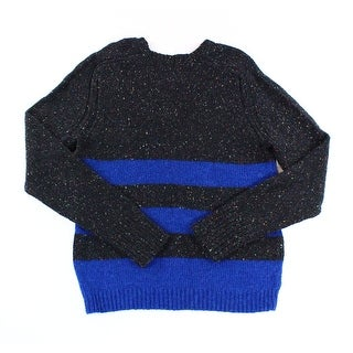 Inhabit NEW Blue Black Mens Size Large L V-Neck Wool Knit Sweater