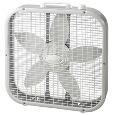 """Lasko 3733 Compact Box Fan, 3-Speed Motor, Gray, 20"""""""