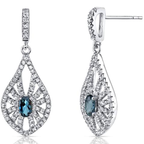 14 Karat White Gold London Blue Topaz Chandelier Earrings 0.50 Carats
