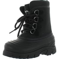 Link Rain 36K Lined Lace Up Winter Snow Boots Black
