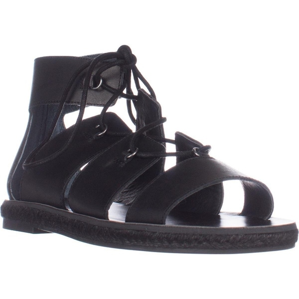Lucky Dristel Flat Lace-Up Sandals, Black