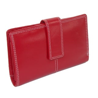 CTM® Women's Leather Long Bilfold Wallet - Red - One Size