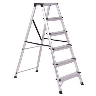 Costway 6 Step Aluminum Ladder Non-Slip Folding Platform Stool 330Lbs Load Capacity