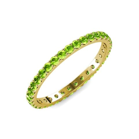 TriJewels Peridot 1 5/8 ctw Womens Eternity Ring Stackable 14K Gold
