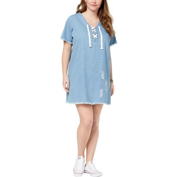 1559f73285 Shop Planet Gold Womens Plus Mini Dress Chambray Ripped - 1X - Free ...