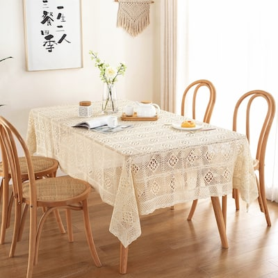 Enova Home Beige High Quality Rectangle Cotton and Linen Tablecloth