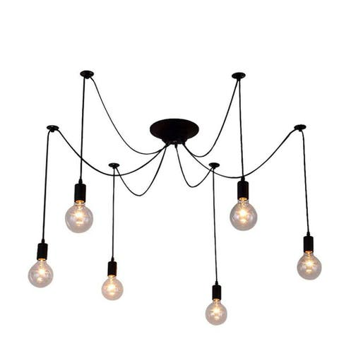 Black Industrial 6-Light Spider Chandelier Pendant Light