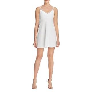 Aqua Womens Slip Dress Lace Trim Adjustable Straps