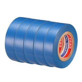 "PVC Electrical Insulating Tape Single Sided 21/32"" Width 49ft 6mil Blue 5pcs - 6 mil Thick, Blue"