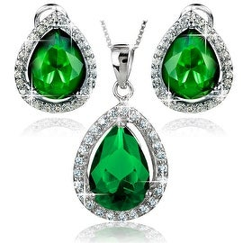 """Sterling Silver Green Pear-Shape Cubic Zirconia Halo Earrings and Necklace 18"""" Set"""