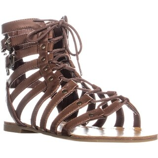 G by GUESS Holmes Strappy Gladiator Sandals, Medium Brown - 7.5 us