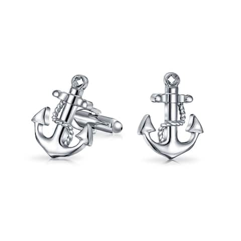 Nautical Anchor Rope Boater Sailor Shirt Cufflinks Silver Tone Steel