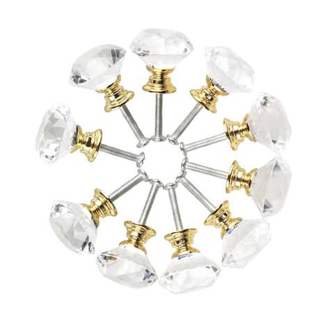 "1.18""Diamond Shape Crystal Glass Drawer Knob Cabinet Pull Handle 10pcs - 1.18"" x 1.18""(D*H)"