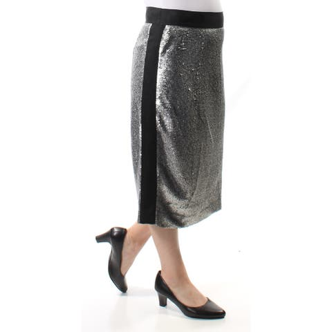 BAR III Womens Silver Below The Knee Pencil Party Skirt Size 6