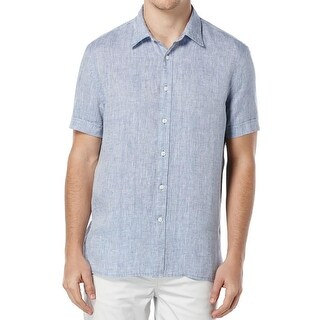 Perry Ellis Mens Button-Down Shirt Linen Short Sleeves