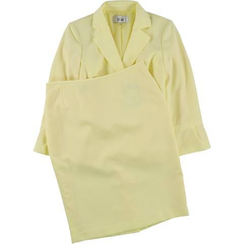 Le Suit Womens 2 Pc Seersucker Skirt Suit, Yellow, 4