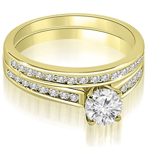 1.17 cttw. 14K Yellow Gold Cathedral Channel Set Round Cut Diamond Bridal Set