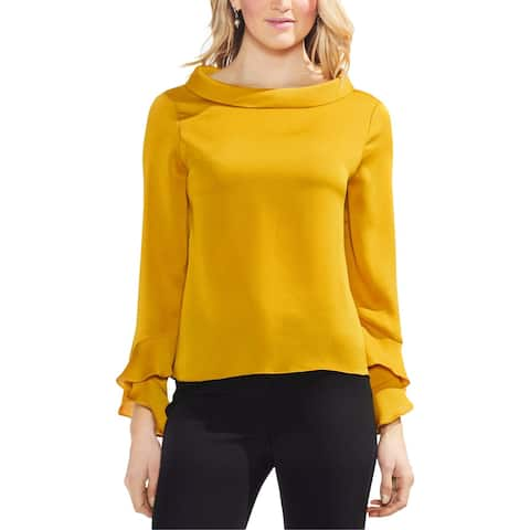 Vince Camuto Womens Pullover Top Mock Neck Flutter Cuff