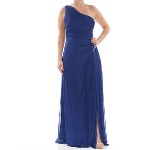 ALEX EVENINGS Womens Blue Embellished One Shoulder Asymmetrical Neckline Full-Length Cocktail Dress Size: 12