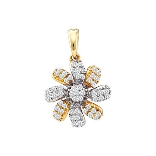 Flower Pendant 10k Two-Tone Yellow And White Gold With Diamonds 0.25Ctw By MidwestJewellery