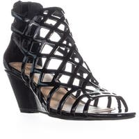 MG35 Henie Caged Wedge Sandals, Black Patent