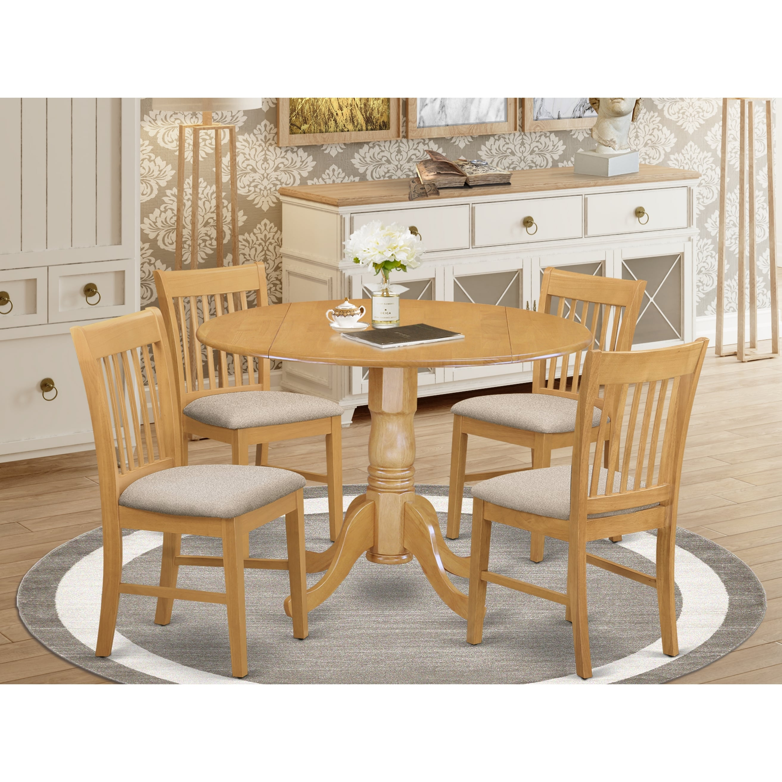 Oak Round Kitchen Table And 4 Chairs 5 Piece Dining Set Overstock 10201193