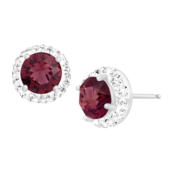 Crystaluxe January Earrings with Burgundy Swarovski Elements Crystals in Sterling Silver - Red