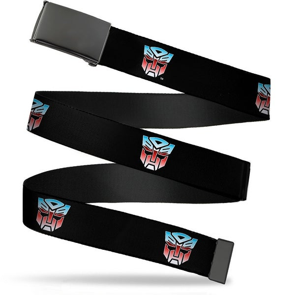Blank Black Buckle Autobot Logo Repeat Black Blue Red Fade Webbing Web Belt