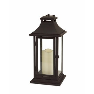 Set Of 2 Black Iron Lantern With LED Flameless Pillar Candles 14.75 Design Ideas
