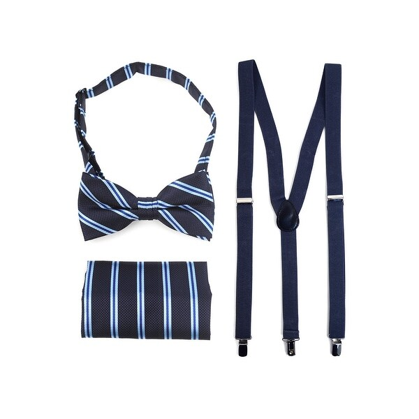 3pc Men's Navy Banded Suspenders, Stripes Bow Tie and Hanky Sets - One Size Fits most