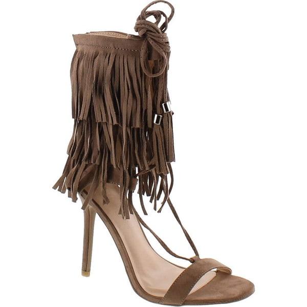 Wild Diva Adele-221 Open Toe Layered Fringe Corset Tassel Lace Up Stiletto Heels