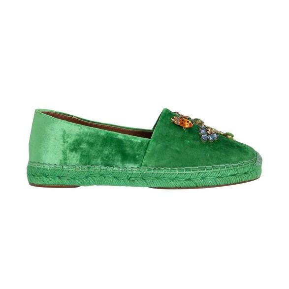 cd1258e283 Dolce & Gabbana Dolce & Gabbana Green Velvet Crystal Espadrilles Shoes -  eu39-us8-5